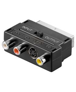 GOOBAY αντάπτορας SCART 21-pin αρσενικό σε 3x RCA θηλυκό 50123, μαύρο