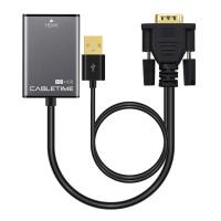 CABLETIME αντάπτορας HDMI σε VGA & USB AV582, 1080p, 0.15m, μαύρος