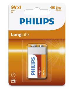 PHILIPS LongLife Zinc chloride μπαταρία 6F22L1B/10, 6F22 9V, 1τμχ