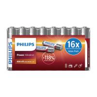 PHILIPS Power αλκαλικές μπαταρίες LR03P16F/10, AAA LR03 1.5V, 16τμχ