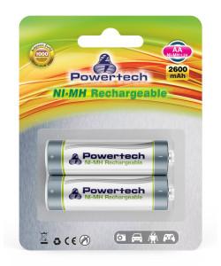 POWERTECH επαναφορτιζόμενη μπαταρία PT-351 2600mAh, AA (R6), 2 τμχ