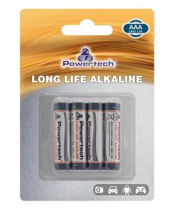 POWERTECH Long Life Αλκαλικές μπαταρίες PT-942, AAA LR03 1.5V, 4τμχ